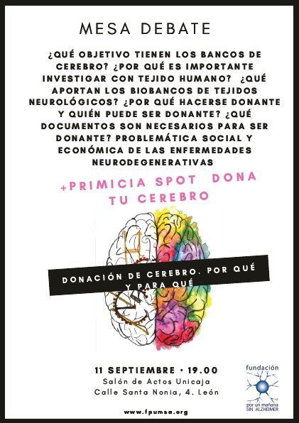 Cartel Mesa debate sobre la donación de cerebro _ 110919 Leon